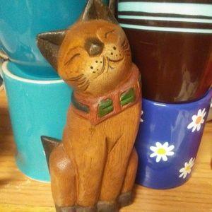 Wooden Cat for a bookshelf